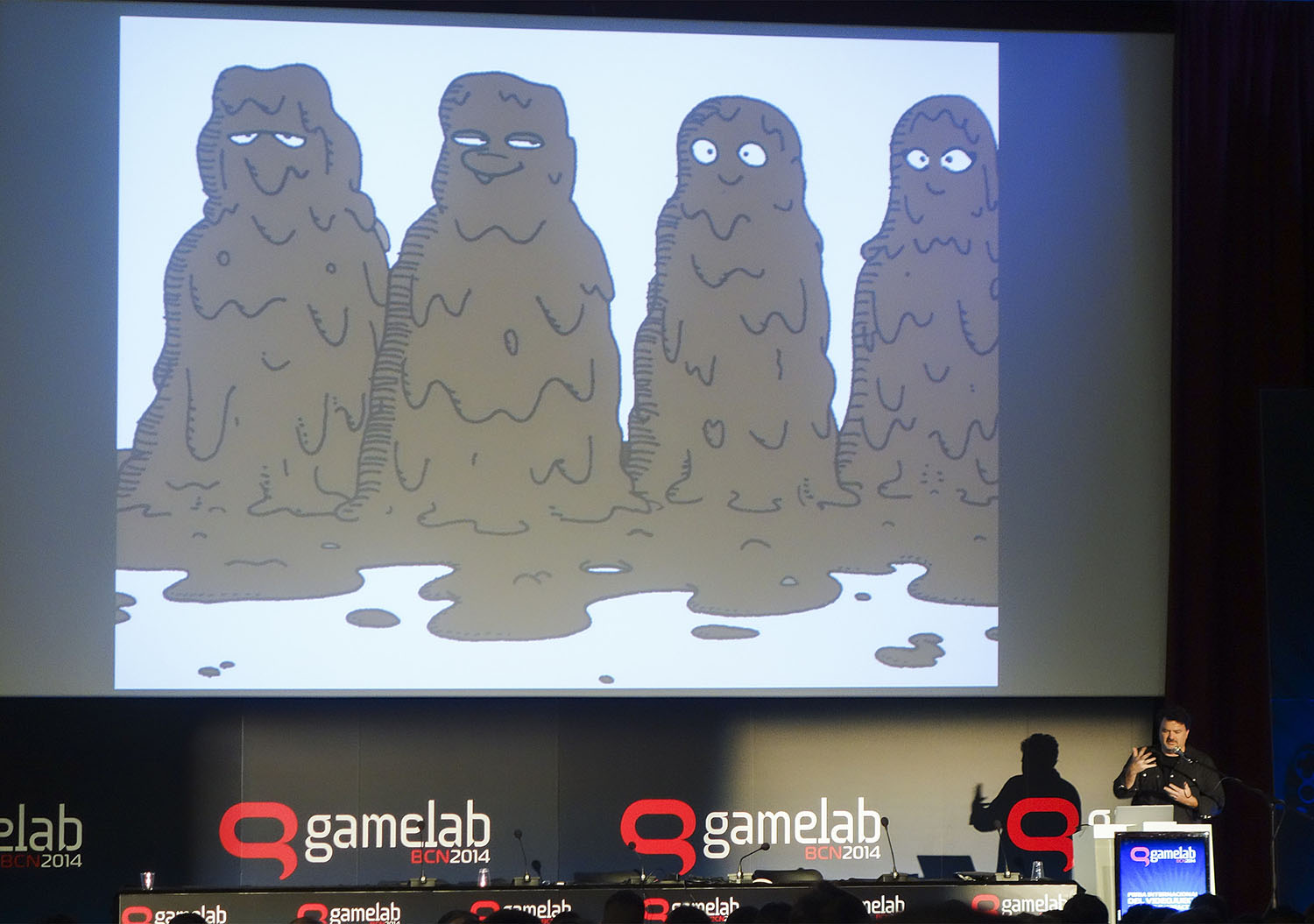 Tim Schafer encouraging and amusing the audience